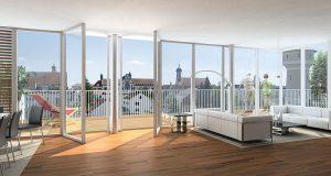 ventanas que dan a una terraza
